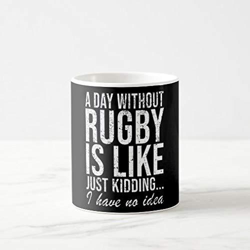 N\A Taza de café Divertida de 11 oz, Taza de café de Regalo con Refranes Divertidos de Rugby, Hombres y Mujeres, Taza de té novedosa