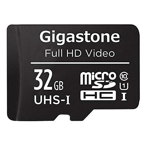 Gigastone Carte Mémoire 32 Go Vitesse de Lecture allant jusqu'à 90 Mo/s. idéal pour Nintendo Switch Full HD Vidéo Drone Caméra de sécurité, Classe 10 U1 C10 Carte Micro SDHC UHS-I avec Adaptateur SD.