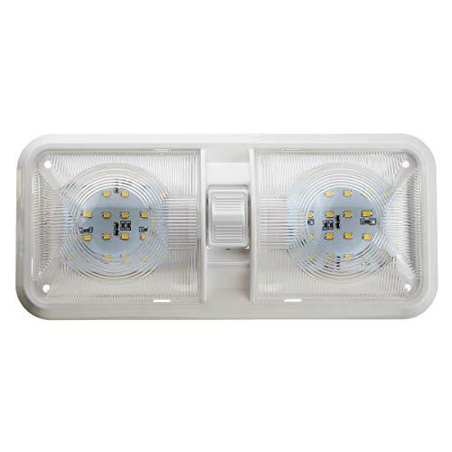 C-Funn LED-binnenlamp met dubbele koppeling, 6,5 W, 4500 K, wit, 12 V, voor camper, camper, boot, camper