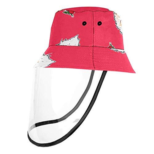 henghenghaha Roter Sonnenhut für Jungen und Mädchen, mit Tortenmuster, UV-Sonnenschutz, atmungsaktiv, winddicht