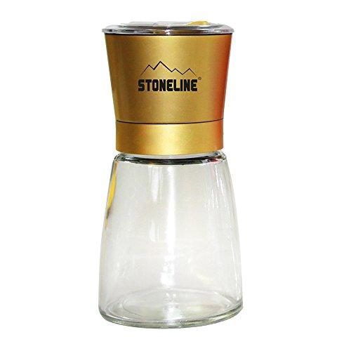 STONELINE 17680 Salz-/ Pfeffermühle, Gewürzmühle, gelber Deckel, mit verstellbarem Keramikmahlwerk Küchenhelfer, Glas, Gelb, 9.9 x 9.9 x 14.9 cm
