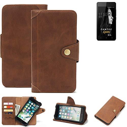 K-S-Trade® Handy-Hülle Für FANTEC Limbo Schutz-Hülle Walletcase Bookstyle Tasche Handyhülle Schutz Hülle Handytasche Wallet Flipcase Cover PU Braun (1x)