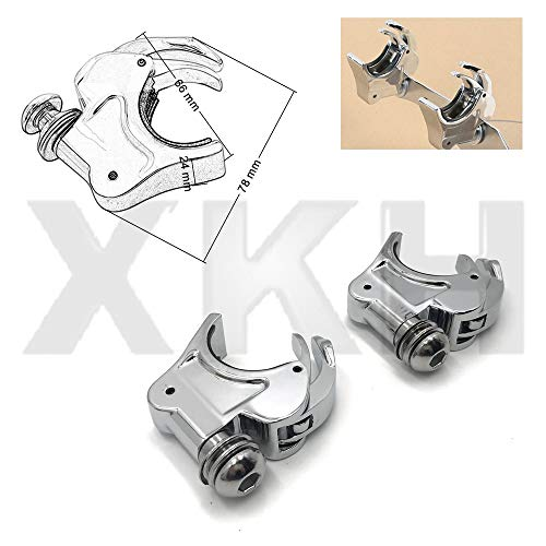 XKH- 2X Chrome 39mm Forks Quick Release Windshield Clamps Compatible with Harley Dyna Sportster [B07NVWV8D6]