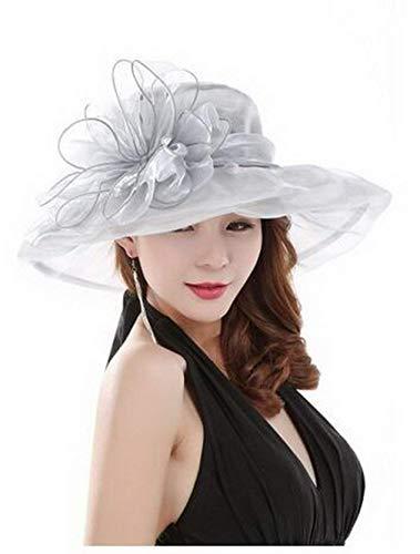 Ladies Organza Regolabile E Pieghevole Cappello Estivo Decorazione Cappello Fiori Spiaggia Vacanza Accogliente Ampia Tesa Protezione Solare Cappello da Sole Elegante