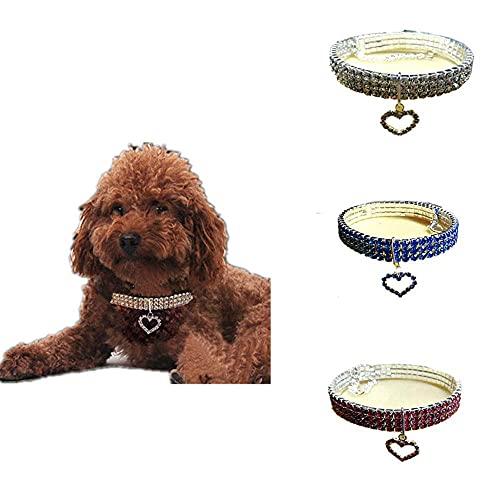 Collar para mascotas con diamantes de imitación, collar de perro con forma de corazón de diamantes de imitación de cristal para perros y gatos pequeños, medianos y grandes
