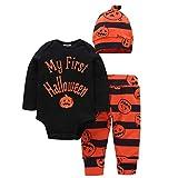 Zoylink 3 Stück Baby Halloween Outfit Einstellen Niedliche Kürbis Spielanzug Hut Hosen für Baby