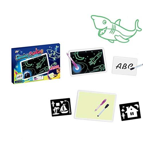 Yoyakie Magic Light 1pack hasta Glow Cuaderno De Dibujo De Los Niños Junta Mágico Educativo Resplandor del Cojín Ficticio Dibujo Regalo Creativo Kit para Niños/Niños Pequeños (a4)