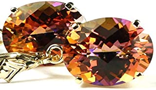 24CTW TWILIGHT FIRE TOPAZ 10k Yellow Gold lever back earrings •SE407-10