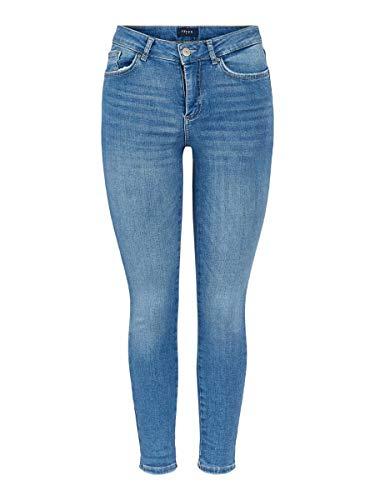 Pieces Nos Mujer Pcdelly Skn MW CR Lb124-ba/noos Vaqueros Skinny Not Applicable, Azul (Light Blue Denim Light Blue Denim), 38 (Talla del Fabricante: Small)