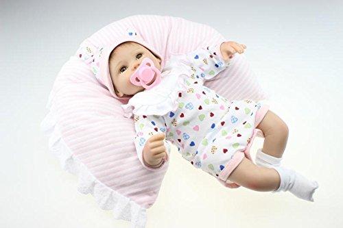 NPKDOLL Reborn Baby Bambino Reborn Bambola Morbido Silicone 18 Pollici 45 Centimetri Magnetica Bella Realistica Sveglia della Ragazza del Ragazzo Giocattolo Bianco Bib C7A1IT