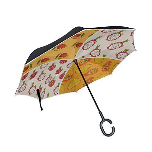 Papaya Drachenfrucht Doppelschicht Falten Anti Uv Schutz Winddicht Regen Gerade Autos Golf Reverse Inverted Schirmständer Mit C förmigen Griff