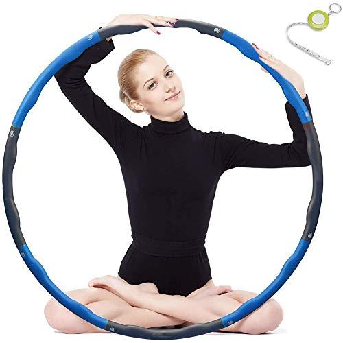 Hula Hoop, Plegable Fitness Wave Peso Ajustable Ancho 48-88cm (26.8-34.6in) para Jóvenes Adultos Damas Gym Ejercicio con Regla de Cintura,Azul