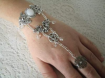 Moonstone Pentacle Slave Bracelet handmade jewelry wiccan pagan wicca witch witchcraft pentagram hand chain