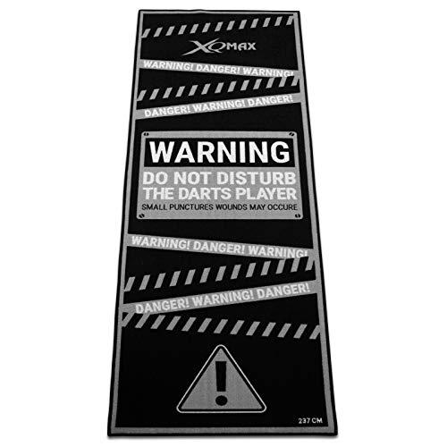 Tunier Dartteppich Warning grau/schwarz 80 x 237 cm Dartmatte Dart Matte mit offiziellem Spielabstand