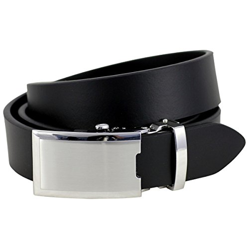 Lindenmann Mens leather belt/Mens belt, leather belt XL with autolock buckle, black, Größe/Size:100