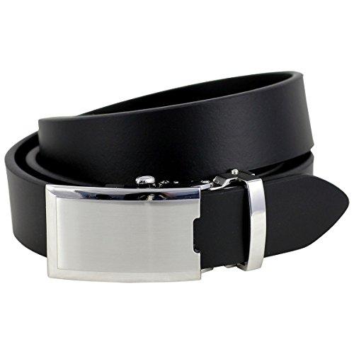 Lindenmann Mens leather belt/Mens belt, leather belt XL with autolock buckle, black, Größe/Size:100