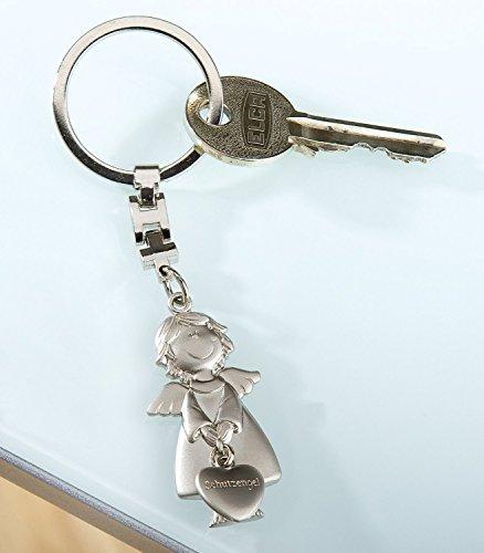 GILDE - Schlüsselanhänger aus Metall - Schutzengel mit angehängtem Herz - matt silber - B=2,0cm / H=11,0cm by Gilde