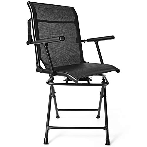GYMAX Folding Hunting Chair, Portable 360° Silent Swivel Free Rotation Hunting Chair with Mesh Back & Armrest, Outdoor Blind Chair for Camping Hunting Fishing