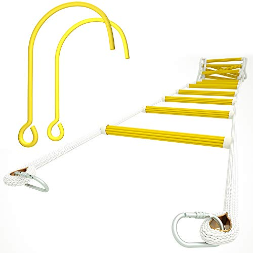 ISOP Fire Escape Rope Ladder 4.1m with Snap Hooks and Window Hooks   2 Story Houses   Safety Rope Ladder for Windows on The Second Floor