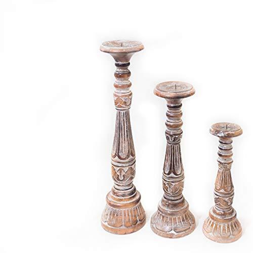 Rococo Candelabro Saphire Tallado en Madera y Acabado Blanco decapado, Set 3 tamaños