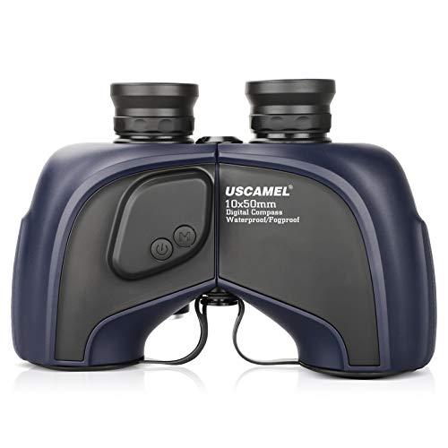 USCAMEL 10x50 Marine Binoculars for Adults, Waterproof Binoculars with Digital Rangefinder Compass, BAK4 Prism FMC Lens Binoculars with Tripod Adapter for Navigation Bird Watching Hunting