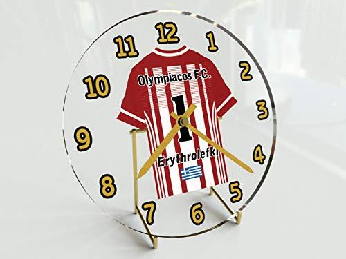 MyShirt123 - Orologio da scrivania per campionati europei di calcio, qualsiasi nome, qualsiasi numero, qualsiasi squadra! (Olympiacos FC)