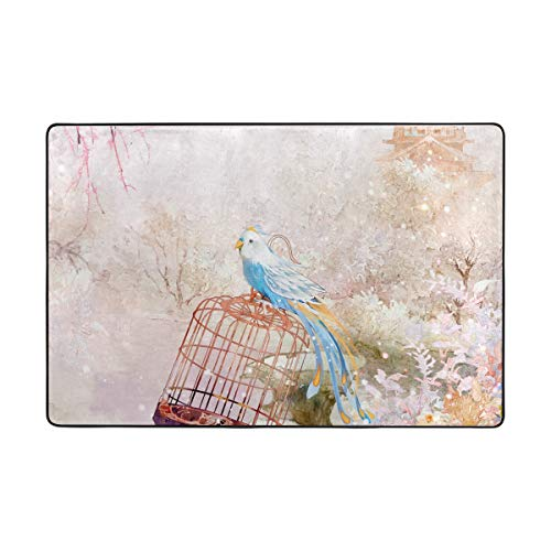 JIRT Area Rugs Personalized Autumn Forest Bird Cage 36 x 24 Inch Floor Mat Soft Doormats Non-Slip for Living Room Home Kitchen Bedroom Decorative