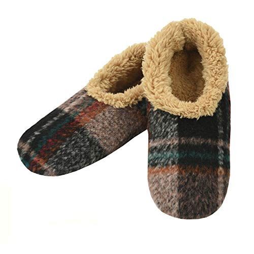 Snoozies Mens Slippers - Slippers for Men - House Slippers for Men - Men's Slippers - Mens House Slippers - Plaids of Bold - Camel - X-Large