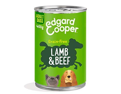 Edgard & Cooper Comida Humeda Perros Adultos Natural Sin Cereales, Latas 6x400g Cordero y Ternera Frescos, Fácil de digerir, Alimentación Sana Sabrosa y equilibrada, Proteína