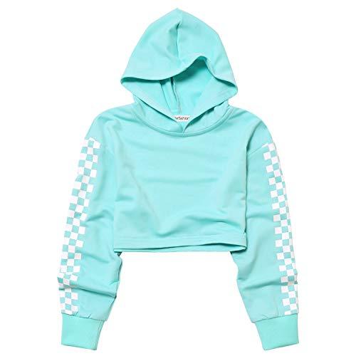 Plaid Long Sleeve Hoodie for Teen Girls Cropped Hoodies Crop Top Mint 12t 13t