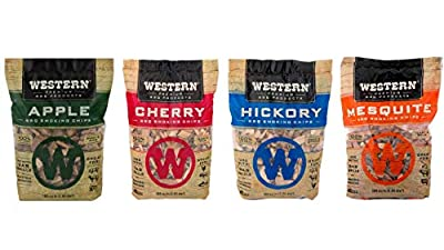 Western BBQ Smoking Wood Chips Variety Pack Bundle (4)- Apple, Mesquite, Hickory, and Cherry Flavors (Original Version)