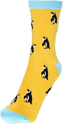 2 Paar Socken Pinguin Orange in Größe 40-45 Atmungsaktive Motivsocken Strümpfe Tennissocken Freizeitsocken Cotton