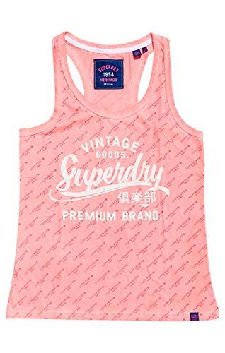 Superdry Vintage Goods Tonal AOP Entry Camiseta de Tirantes Anchos, Rosa (Fluro Pink 28r), S para Mujer