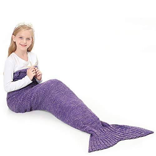 LYLIN Mermaid Tail Blanket, TEKI Wearable Crochet Sleep Blanket for Kids Girls, Lace Pattern Full-Body Fishtail Blankets All Seasons Napping Coverlet (Purple)