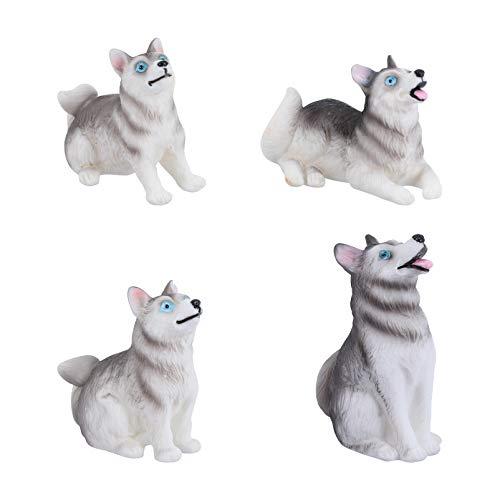 Cabilock 4 Piezas Estatuilla de Perro Figuras de Perro Husky Cachorro Animales...