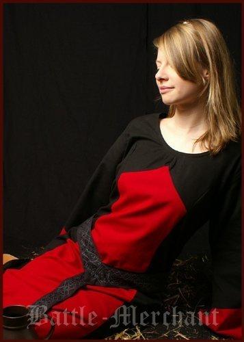 Vestido medieval Aurora, colour negro/rojo - de la Edad Media vestido - vestido medieval - vestido de Vikingo, todo el año, color , tamaño medium