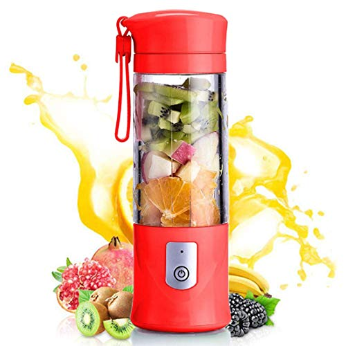 Portable blender, Mini Fruit Juicer Cup, Personal Small Electric Juice Mixer Machine with USB Rechargeable 4000mAh Battery Powered 420ML Travel Bottle (Red)
