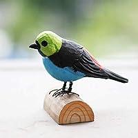 無垢材彫刻切り株鳥飾り木彫りホームアールデコ飾り