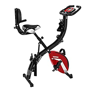 PEXMOR 3 in 1 Adjustable Folding Exercise Bike Convertible Magnetic Upright Recumbent Bike with Arm Bands and Leg Bands (Red)