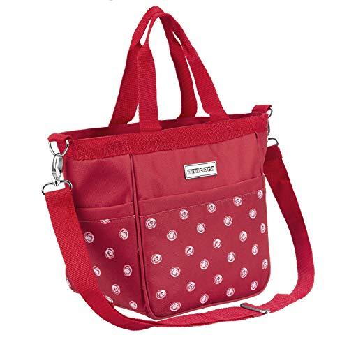 anndora Damen Handtasche Umhängetasche Schultertasche rot weiß gepunktet