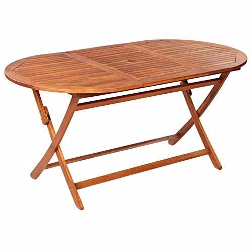 Tidyard Tavolo da Giardino Pieghevole Massello di Acacia Tavolo in Legno Tavolino da caffè 160x85x75 cm per Giardino Terrazzo Balcone Patio l'interno e l'esterno