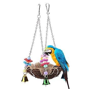 Naturel Rotin Nid D'oiseau Perroquet Cage Hamac Suspendu Balançoire Jouets avec des Cloches pour Ara Amazone Gris Africain Budgie Perruche Coat Cockbird Inséparable(Small)
