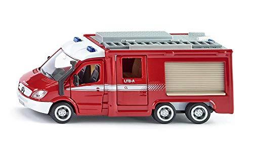 SIKU 2113, Feuerwehr Mercedes-Benz Sprinter, 1:50, Metall/Kunststoff, Rot, Öffenbare Türen