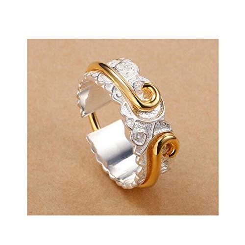 Fqdqh Par de anillos, anillos y de S925 plata de los hombres de las mujeres, de dos en uno Índice abierta del dedo anular, abierto joyería de plata for hombres y mujeres, regalo for la novia, Amo pare