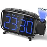Projektionswecker Radiowecker digitaler Wecker mit Projektion mit 3 stufige Helligkeit 180 ° Projektion 7 Alarmtöne Snooze FM Radio von ELEHOT