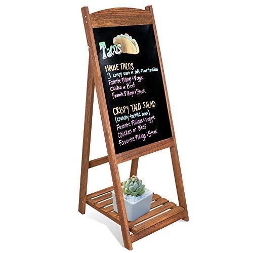 unho Pizarra de Pie de Madera Pizarra Vintage con Estante de Flores Escalera Decorativa con Pizarra para Cafetería Restaurante Librería Bar Hogar Color Marrón