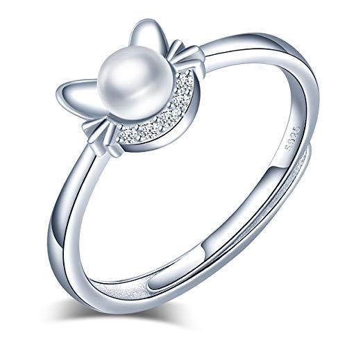 Zilveren ring kat kitten ring met parel en zirkonia, sterling zilver 925 verstelbaar damesringen voor vrouwen en meisjes