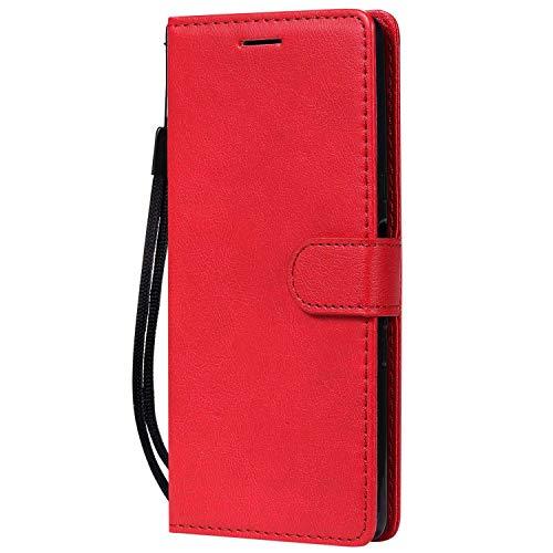 DENDICO Coque Sony Xperia L3, PU en Cuir Coque Portefeuille Étui Housse, Design Classique TPU Coque pour Sony Xperia L3 - Rouge