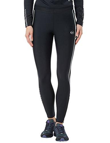 Ultrasport Pantalones largos de correr para mujer, con efecto de compresión y función de secado rápido, Negro/Blanco, XS