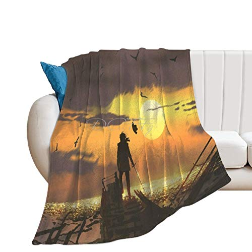 Throw Blanket for Couch Flannel Blankets Cool Sword & Pirate Fantasy Art Gaming Lightweight Ultra Soft for All Season Farmhouse Decorative Blanket for Bed Sofa Travel Birthday Gift 30x40 Inch